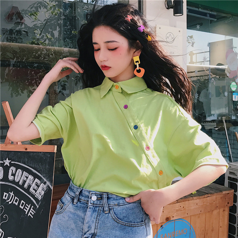 Harajuku Loose Vintage Solid All Match T Shirt 90s Girls Korean College Wind Short Sleeve Turn Down Collar Women Basic T-shirts
