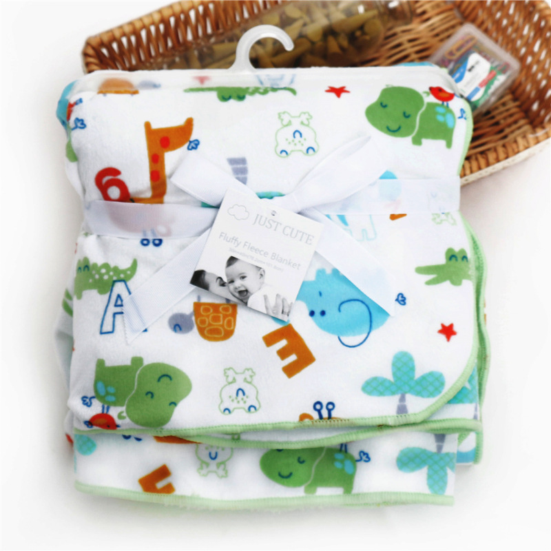 JUST CUTE Brand Baby Blanket Thicken Double Layer Coral Fleece Infant Swaddle Envelope Stroller Wrap Newborn Baby Bedding
