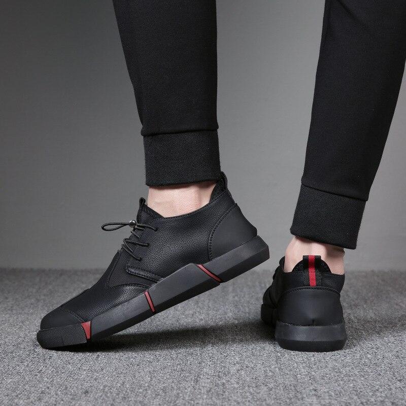 NOUVELLE Marque de Haute Qualité Tous Les Noir Hommes En Cuir Casual Chaussures De Mode Respirant Espadrilles Appartements De Mode