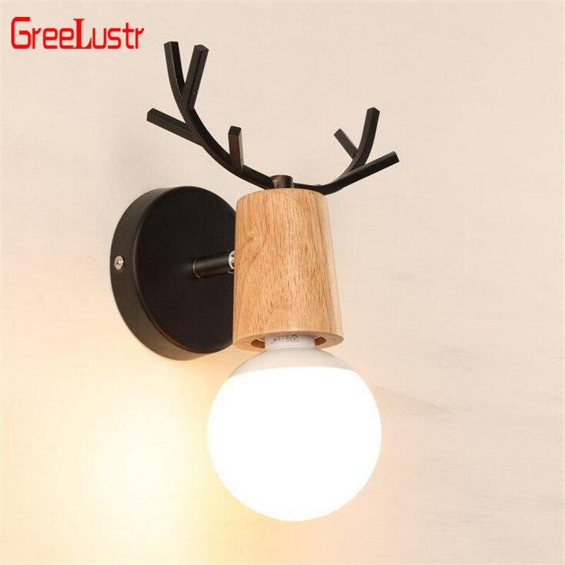 Wood LED Indoor Wall Light E27 Novelty lighting Black White Deer Antlers Animal Wall Sconce Lamp Bedside Deco Luminaire Bedroom