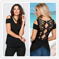 Plus size 5XL 2016 New Fashion Summer Women Solid Color Round Neck Short Sleeve Patchwork  Lace Hollow Out Casual Work T Shirt