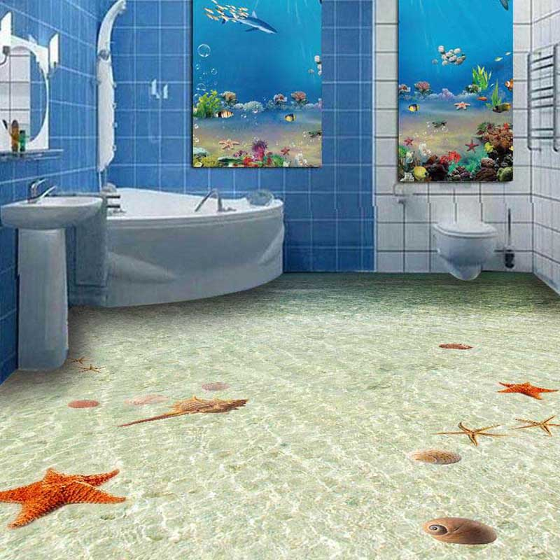 US $40.6 30% OFF|3D rutschfeste Boden tapeten PVC Bad Bodenbelag Wand  Papier Welt Ocean starfish Bodenfliese Wandmalereien Fototapete für  Wände-in ...