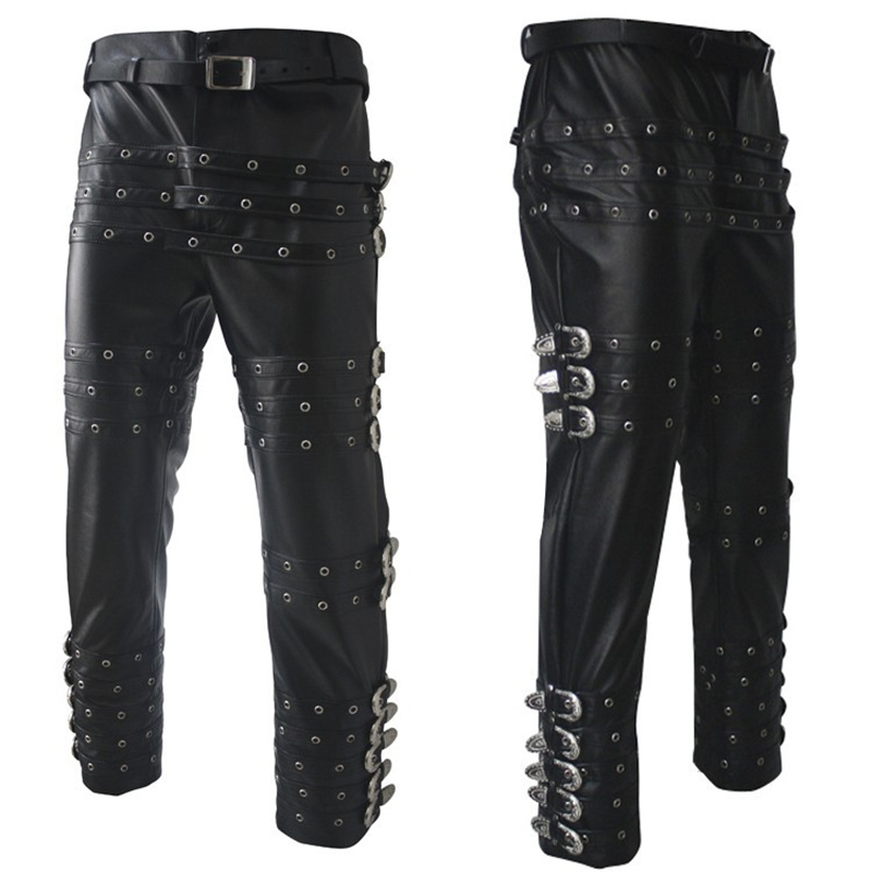 Classic MJ Michael Jackson Punk Rock BAD Concert Performance Imitate Leather Trousers Pants Chaparajos 25-37size
