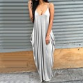 Women Summer Dress 2017 Sexy Spaghetti Strap Maxi Long Dress Solid Sleeveless Loose Dresses Plus Size Casual Beach Vestidos