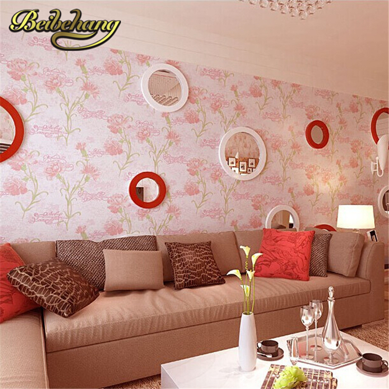 beibehang Non-woven Pastoral Style Wall Covering Floral Design Wallpaper Kids Room Papel De Parede 3d Home Decoration beibehang non woven pink love printed wallpaper roll striped design wall paper for kid room girls minimalist home decoration