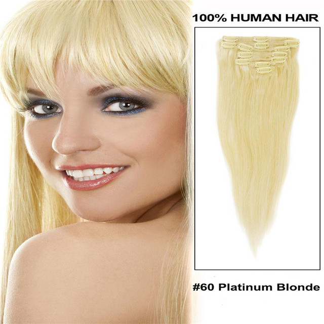 Full Head Remy Clip In Human Hair Extensions  #60 Platinum blonde 70g 100g 120g 160g 200g Optional
