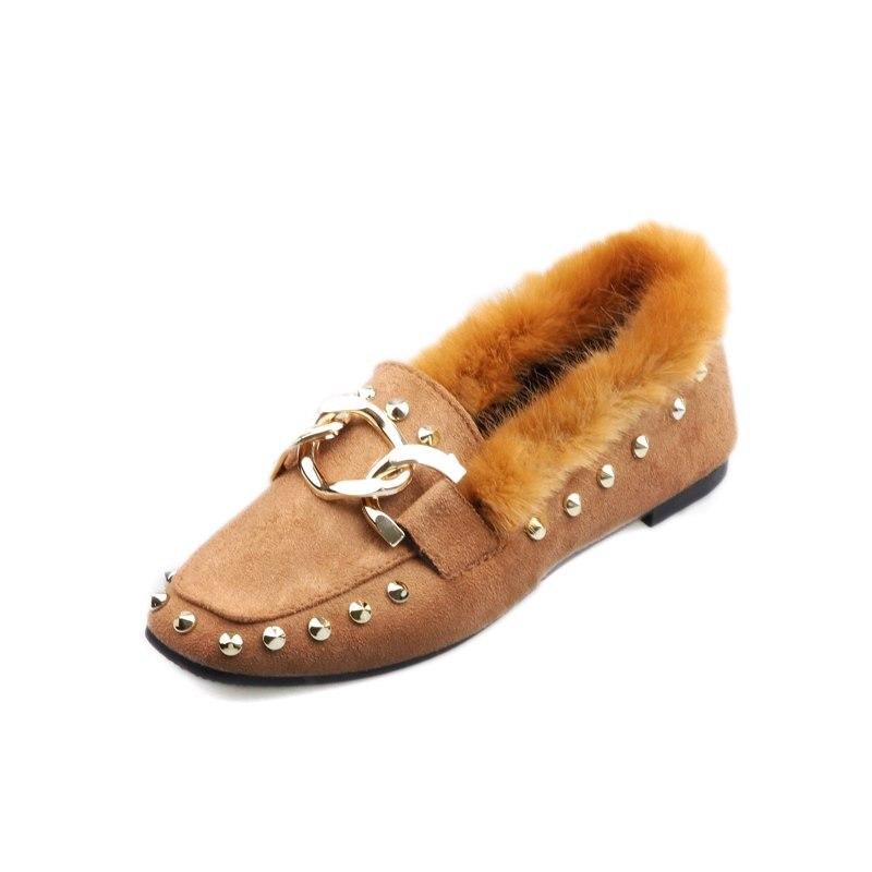 Mocassins Qualité Fourrure En Chaussures De Hiver kaki Haute Mocassin Femmes Nouvelle Décoration Slip 2018 Sur Faux Suede Plat Métal Chaîne Noir Cuir Furry zxZqt