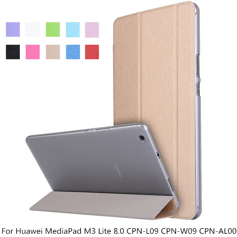 Slim Case For Huawei MediaPad M3 Lite 8.0 CPN-L09 CPN-W09 CPN-AL00 Leather Smart Flip Stand Transparent Cover Case + Pen + Film