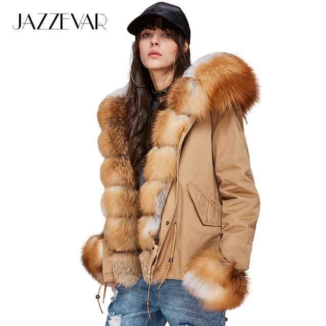 Jazzevar новые женские Модные роскошный большой натуральным лисьим меховой воротник манжеты пальто с капюшоном короткие Парки верхняя одежда зимняя куртка