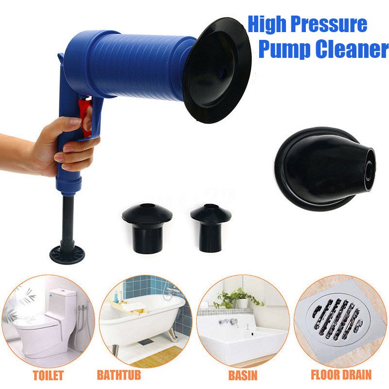 Image 2 - Air Drain Blaster High Pressure Pump Cleaner Unclogs Toilet Sewer Cleaning Brush Kitchen Bathroom Powered Plunger Remover Tool-in Drain Cleaners from Home & Garden