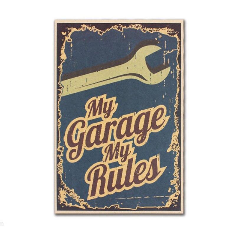 Мой гараж мои правила Декор Винтаж крафт-бумага Фильм Плакат Украшение стены дома художественные журналы Ретро плакаты и принты