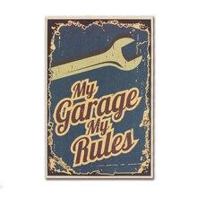 My Garage My Rules decoración papel Kraft clásico cartel de película decoración de la pared del hogar revistas de arte Retro carteles e impresiones