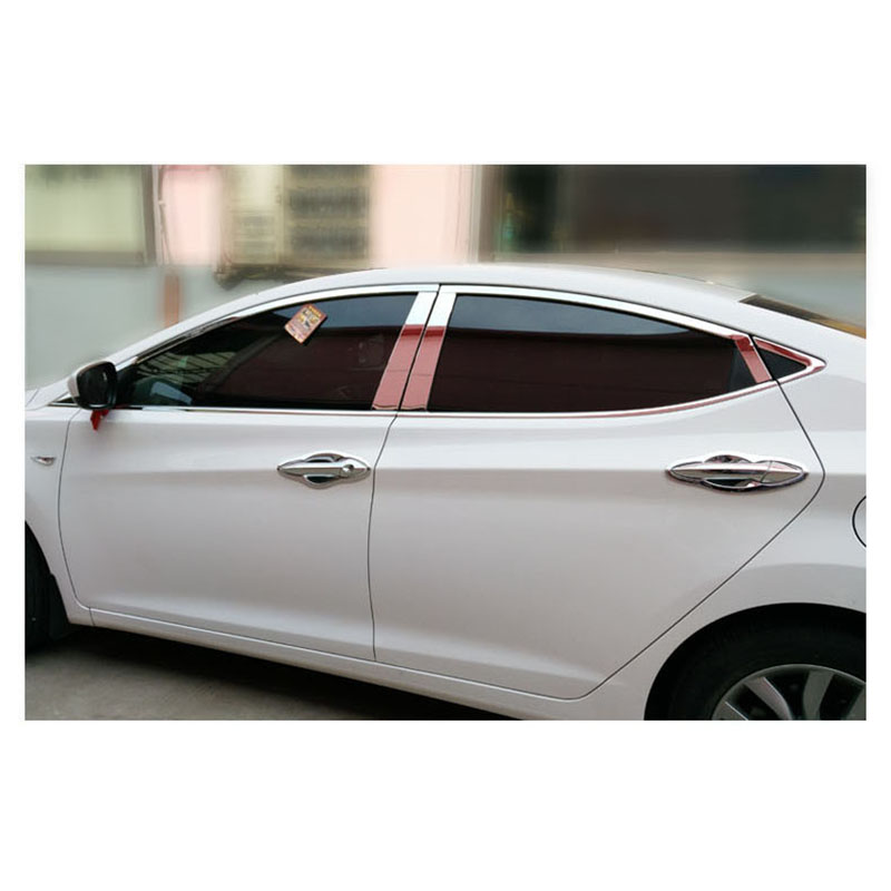 lsrtw2017 304 stainless steel car window trims for hyundai elantra 2010 2011 2012 2013 2014 2015 2016 hyundai Avante i35 Elantra stainless steel full window with center pillar decoration trim car accessories for hyundai ix35 2013 2014 2015 24