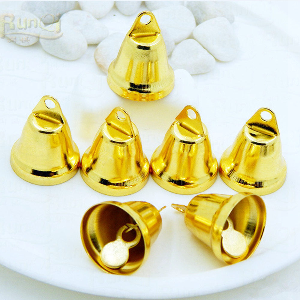 10Pcs / Set Copper Gold Plated Bells DIY Handmade Jewelry Accessories Home Party Wedding Decoration Christmas Tree Ornaments