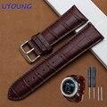 Genuína pulseira de couro 26mm preto pulseira de couro marrom para o garmin fenix 3 smart watch strap