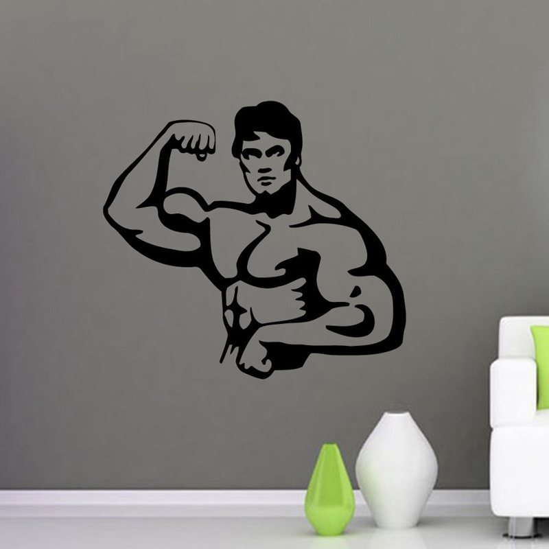 Gym Sticker font b Fitness b font Decal Body building Posters Vinyl Wall Decals Pegatina Quadro