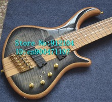 new Big John 6 strings fanned a sandwich electric bass guitar in blue with elm body  + free shipping F-3125