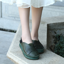 Retro High Quality of Handmade Womens Shoes Spring/Autumn Soft Full Grain Leather Slip-ON Casual Shoe