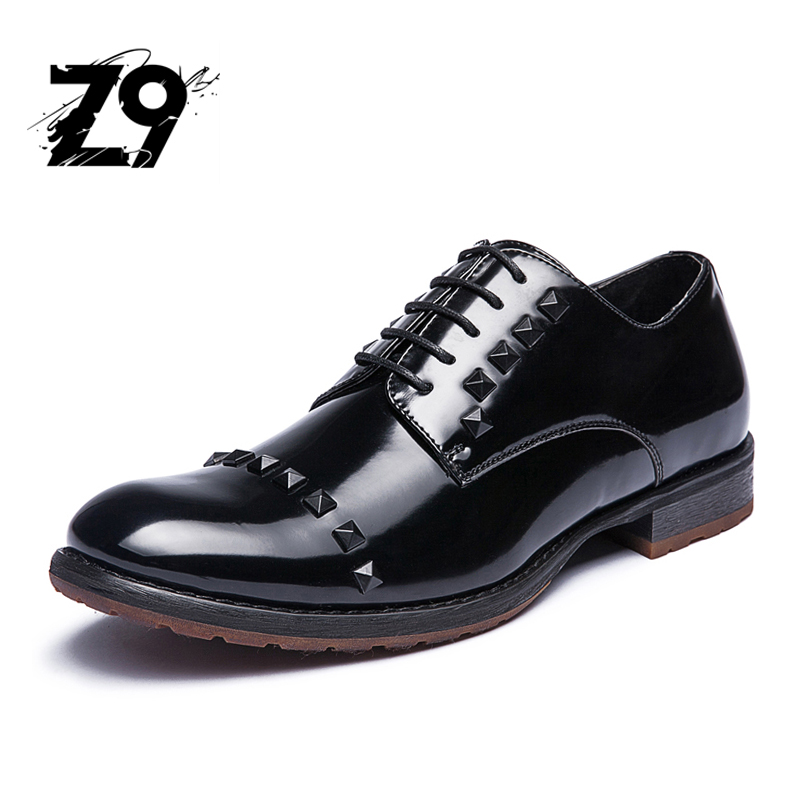 New fashion oxford men dress party shoes brand wedding style rivet patent leather design top quality night club
