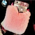 Pele real coelho cabelo caixa do telefone para samsung galaxy j7 2016 J7 J1 mini Caso de luxo Strass Fox Bling Inverno Quente Telefone cobrir