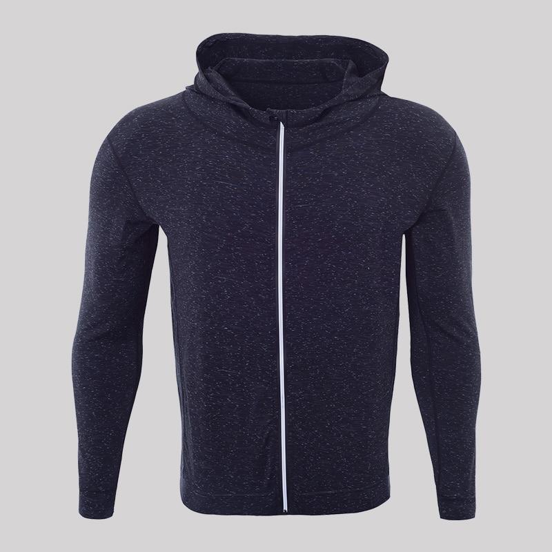 Для мужчин быстросохнущая кепки свитер с капюшоном Спортивная майка сжатия фитнес-плотно Рашгард рубашка Gymming Бодибилдинг куртка для бега VY781 - Цвет: black grey