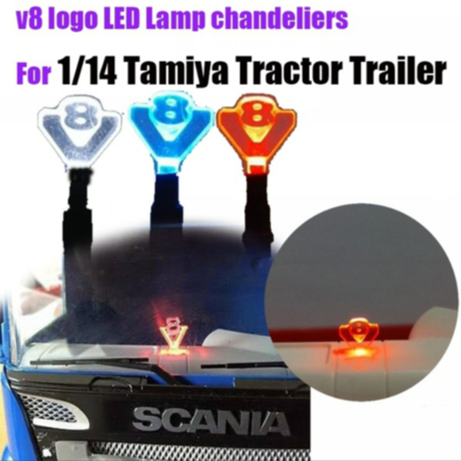 V8 Logo Decorative Led Lamp Chandeliers For Tamiya 1/14th Scale Rc Scania 56352 620 MAN TGX BEENZ 1851 Tractor Trailer Truck