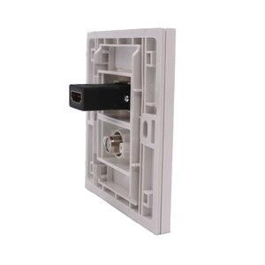 Image 3 - Błyszczący biały Panel ścienny cyfrowy TV HDMI gniazdo F głowy gniazdo TV bezpośrednio podłączyć 86mm płyta dla DVD PS telewizji
