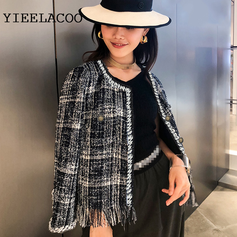 Blue tweed jacket 2019 autumn winter women s jacket new woven thin section plaid short coat