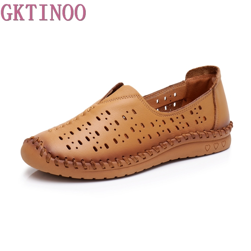 GKTINOO New Summer Women Flats Shoes Women loafers Ladies Slip on Flats Hollow Out Genuine Leather Driving Shoes Women Shoes xiaying smile hollow out flats shoes women boat shoes summer casual loafers slip on pointed toe shallow rubber women solid shoes