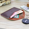 2017 Vintage Retro de Cuero de Vaca Hombres Cartera a Largo Simple Ultra Thin envelope bag ladies bolso del teléfono móvil