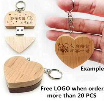 Hot Sale Custom Logo Wooden Heart Memory Stick Pen Drive 4gb 8gb 16gb 32gb Company Logo customized Wedding Gift photography gift