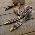 Hombres nueva rayas tirantes vintage ajustable de bronce accesorios de moda recessionista tirantes para hombres y mujeres