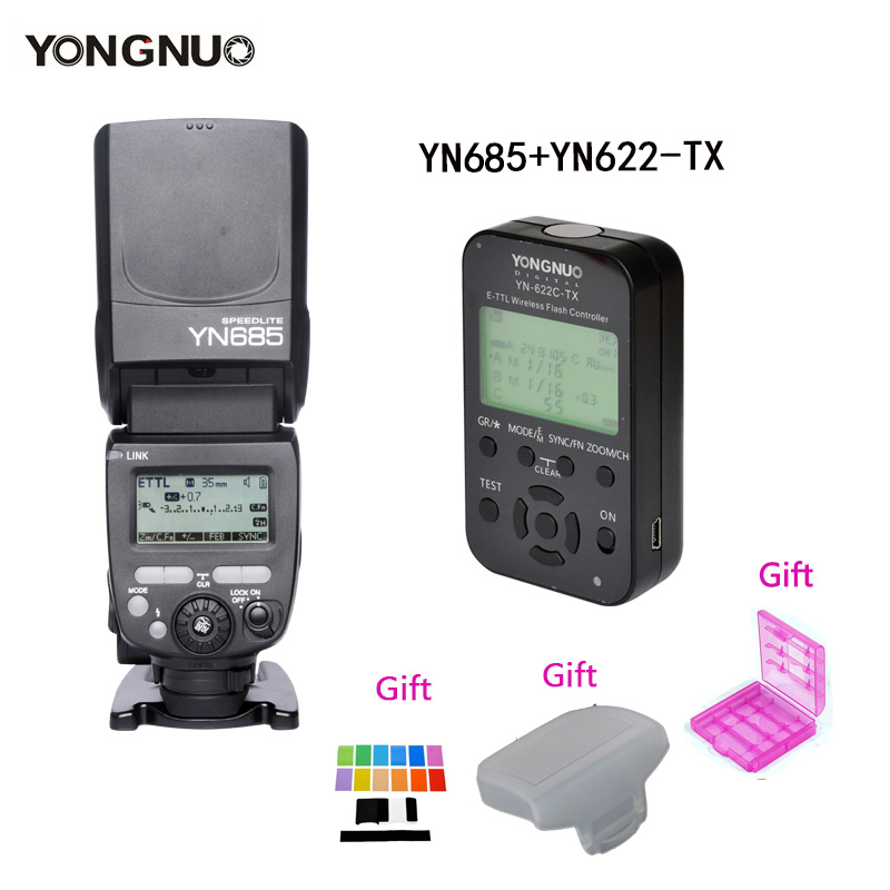 YONGNUO Flash Speedlite YN685 Sans Fil HSS TTL Construire dans Récepteur + Émetteur Contrôleur YN622C-TX/YN622N-TX pour Canon Nikon