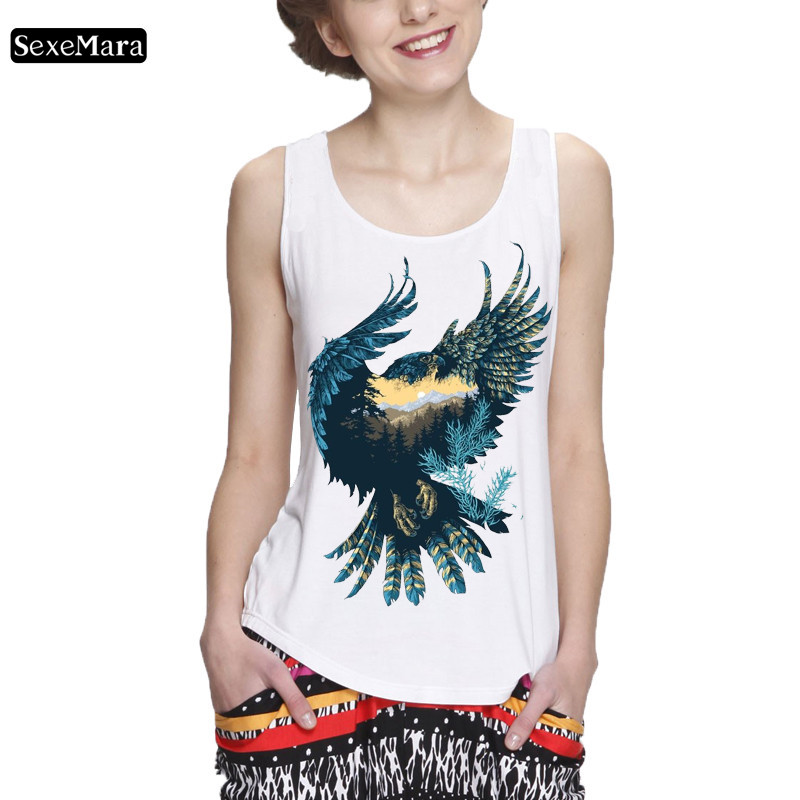 SexeMara punk women's vest pattern print green eagle and beautiful view sleeveless T-shirt female casual vest fitness   tank     top