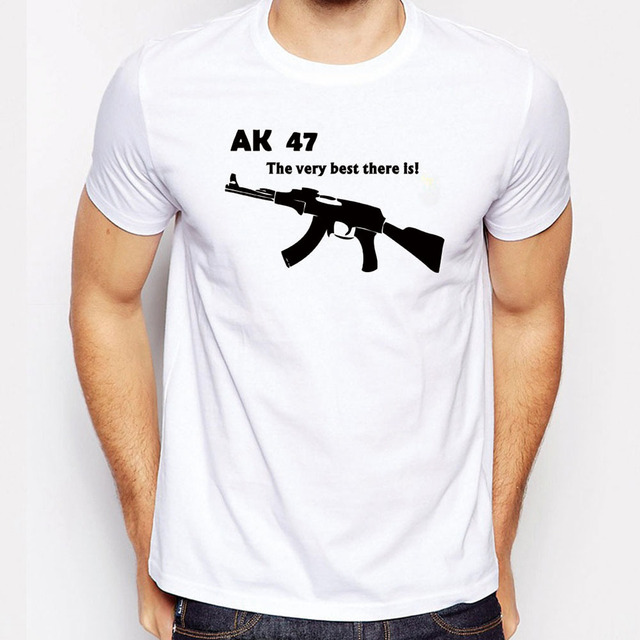 Men Plus Size Short Sleeve O Neck Man T Shirt AK 47 Funny