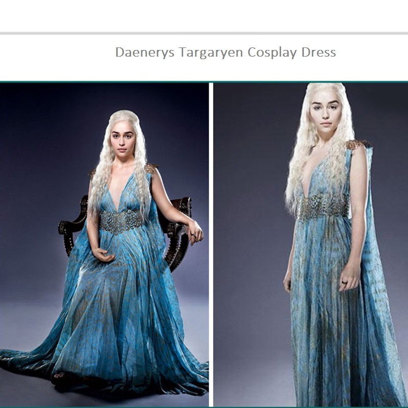 1 SETGame of Thrones Daenerys Targaryen Cosplay Costume Women Halloween Dress