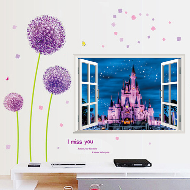window view princess castle star 3d wall stickers kids room living