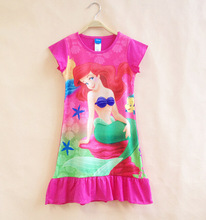 rocoo wholesale princess Ariel girls summer sleeveless Nightie dress Pink pajamas nightgown sleepwear kids nightie 8 pcs/lot