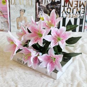 Image 1 - 1 cái 10 Người Đứng Đầu Nhiều Màu Nhân Tạo Lily Flower Bouquet Hoa Giả Bridal Hoa Wedding Trang Trí Vòng Hoa P20
