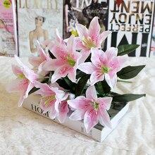 Ramo de flores de lirio Artificial Multicolor, 1 Uds., 10 cabezas, flores falsas, corona de Boda nupcial, decoración P20