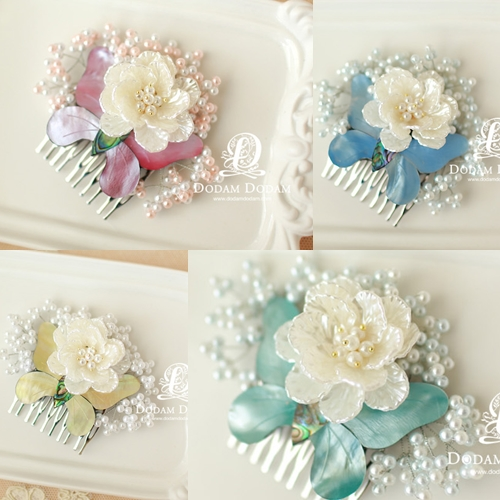 Imported Korea Delicate Colored Shell Coral Hair Combs Little Girl s Cute Sweet Side Hair Combs