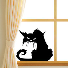 Halloween Decor Grappige Zwarte Kat Venster Sticker Winkel Showcase Window Muur Laptop Halloween Decal Sticker Thuis Party Decor(China)