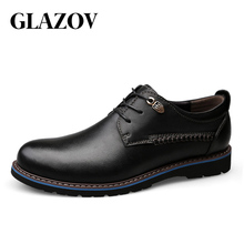 GLAZOV Men Casual Shoes Brand Leather Men Shoes Flats Men Sneakers Genuine Leather Business Spring Autumn Plus Big Size 47 48 cheap Cow Leather Rubber Spring Autumn Adult 35A-6808Q180C135 Oxfords Fits true to size take your normal size Breathable Waterproof