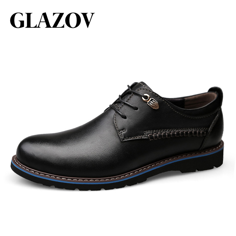 GLAZOV Men Casual Shoes Brand Leather Men Shoes Flats Men Sneakers Genuine Leather Business Spring Autumn Plus Big Size 47 48