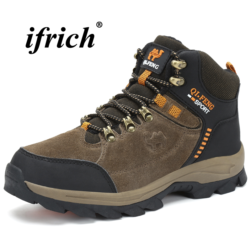 Man Hiking Shoes Brown Dark Green Winter Sneakers for Men High Top Man Trekking Shoes Comfortable Non Slip Tactical Boots in Hiking Shoes from Sports Entertainment