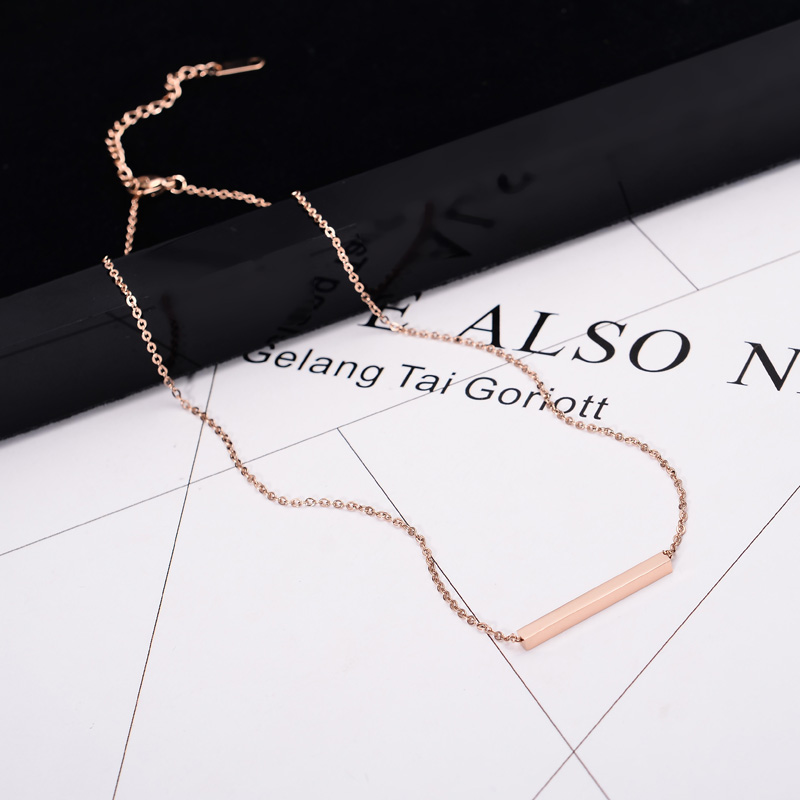 YUN RUO Fashion Brand Woman Jewelry Rose Gold Color Cuboid Pendant Necklace Simply Choker High Polish Stainless Steel Jewelry
