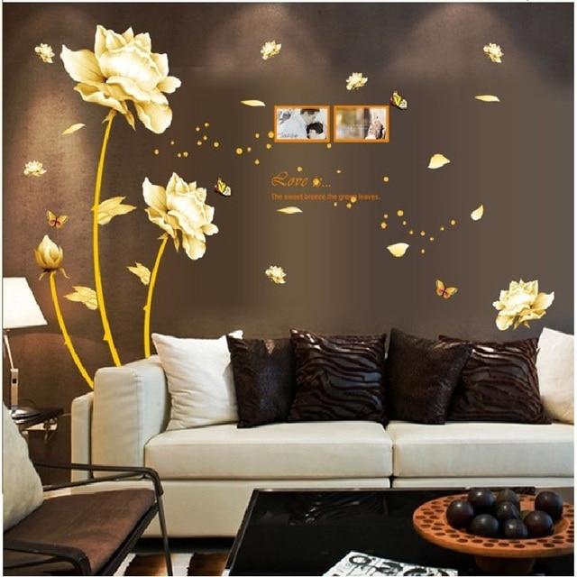 Tulipa Foto Adesivo de Parede Para O Sofá Fundo Quarto papel de Parede Cartaz Decorativo Pvc Mural Art Home Decalque Diy Janela da Sala de Estudo nova