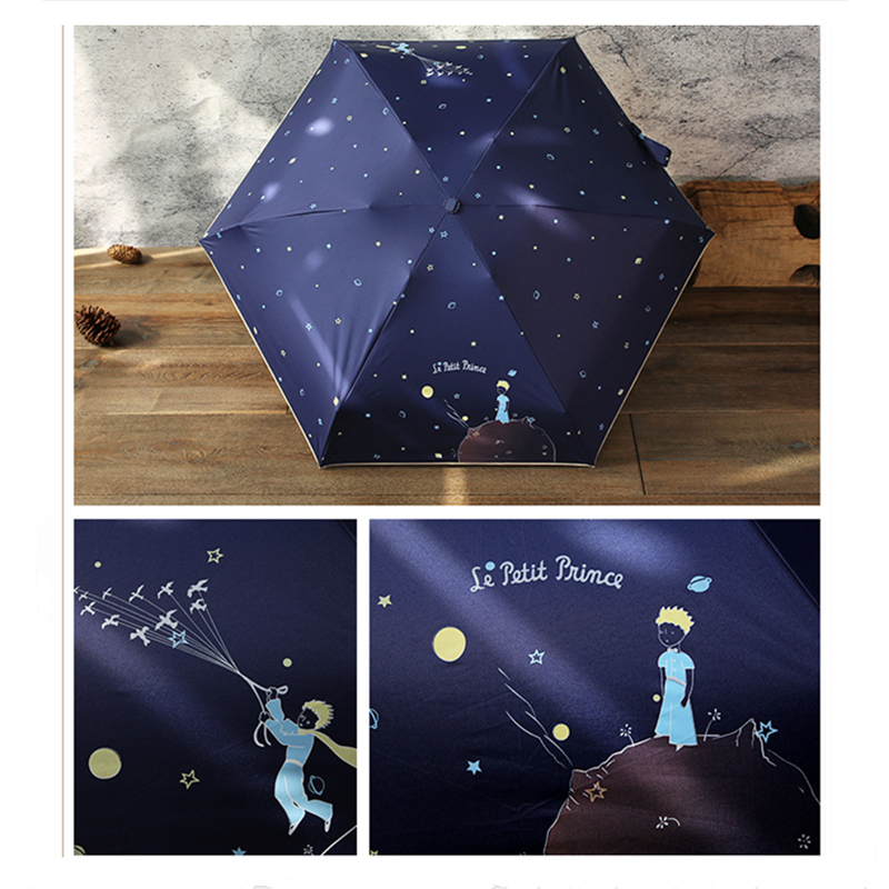 Kocotree Cartoon Little Prince Umbrella Rain Women Folding Umbrellas Female Sunny Parasol Lovely Paraguas Mini Pocket Umbrella in Umbrellas from Home Garden