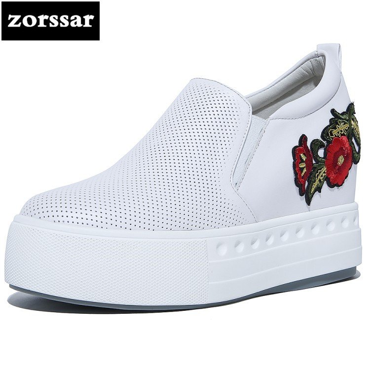 {Zorssar} 2018 NEW Fashion Flowers Casual womens shoes Slip-on Wedges height increasing High heels pumps women Platform shoes summer breathable hollow casual shoes women slip on platform flats shoes fashion revit height increasing women shoes h498 35