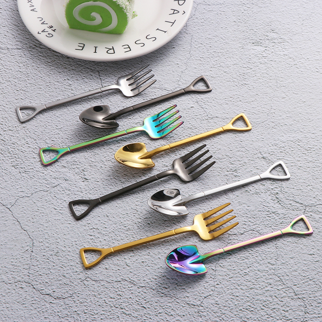 Colorful Stainless Steel Shovel Shape Ice Cream Spoon